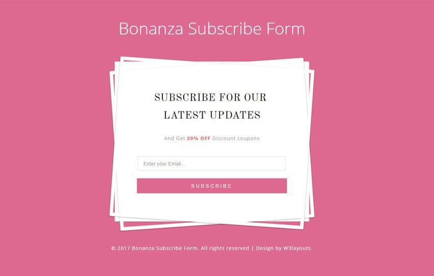 Bonanza Subscribe Form a Flat Responsive Widget Template