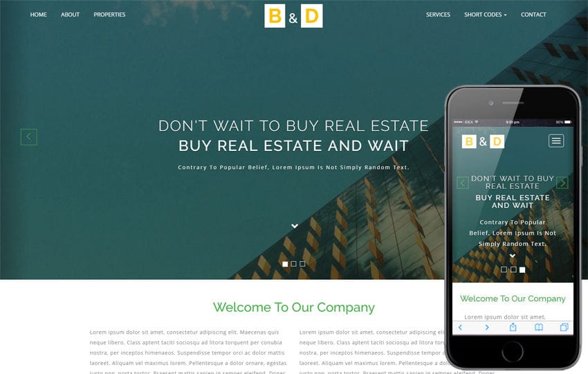 Builders and Developers a Real Estate Bootstrap Responsive Web Template Mobile website template Free