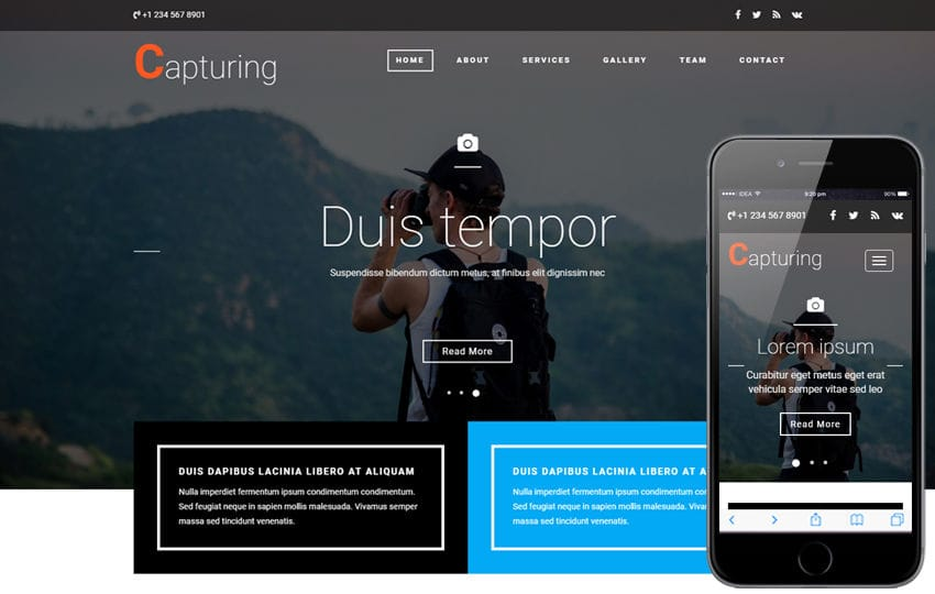Capturing a Photo Gallery Category Bootstrap Responsive Web Template Mobile website template Free