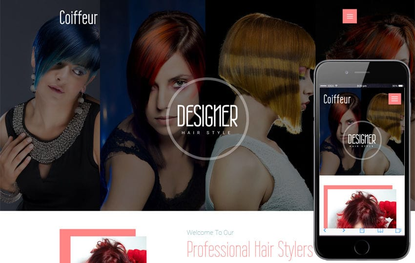 Coiffeur a Beauty and Spa Category Bootstrap Responsive Web Template Mobile website template Free