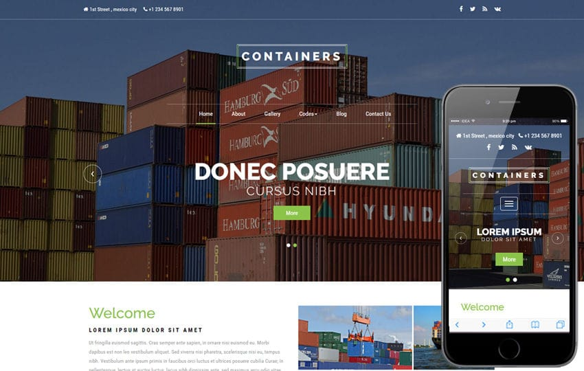 Containers an Industrial Category Bootstrap Responsive Web Template
