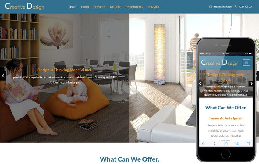 Creative Design an Interior Category Bootstrap Responsive Web Template Mobile website template Free
