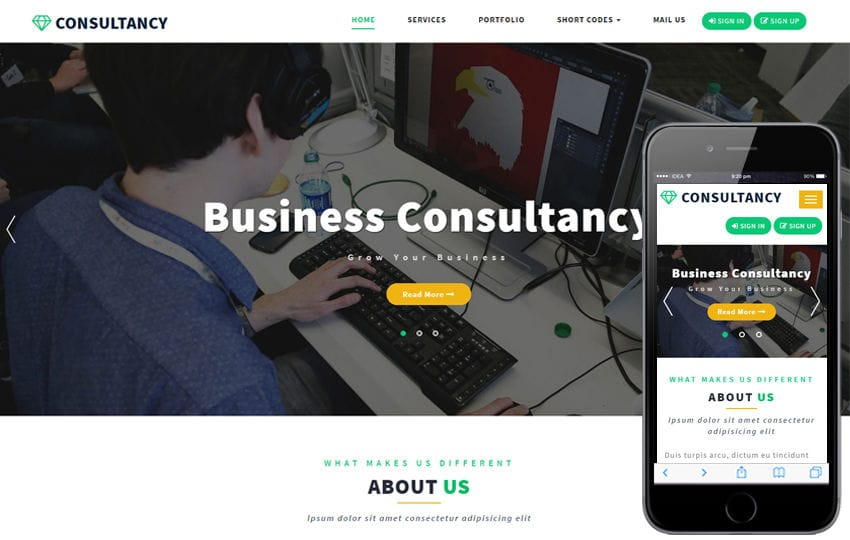 Consultancy a Corporate Category Bootstrap Responsive Web Template