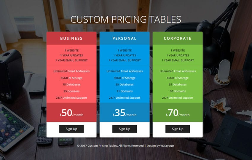 Custom Pricing Tables Flat Responsive Widget Template