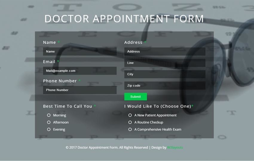 Doctor Appointment Form Flat Responsive Widget Template Mobile website template Free