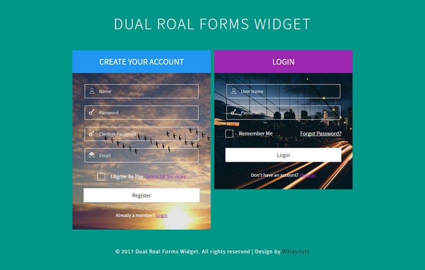 Dual Roal Forms Widget a Flat Responsive Widget Template