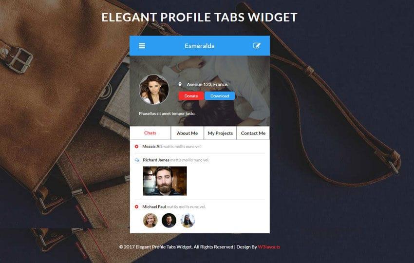 Elegant Profile Tabs Widget Flat Responsive Widget Template
