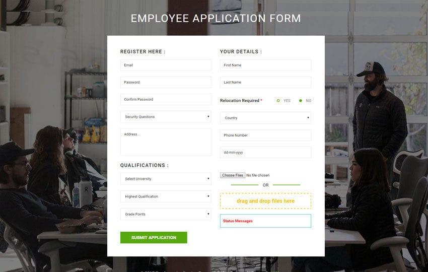 Employee Application Form Flat Responsive Widget Template