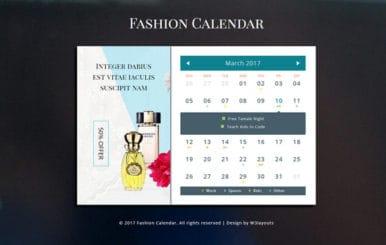Fashion Calendar a Flat Responsive Widget Template
