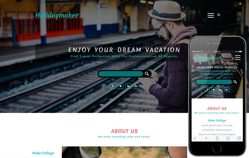 Holidaymaker a Travel Category Bootstrap Responsive Web Template Mobile website template Free
