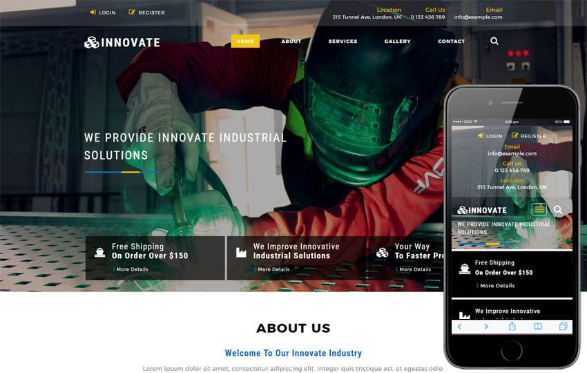 Innovate an Industrial Category Bootstrap Responsive Web Template
