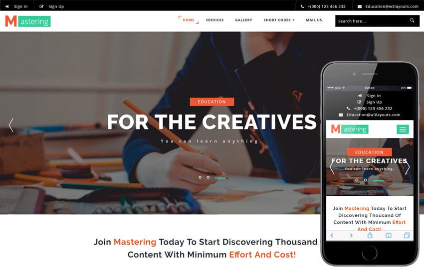 Mastering an Education Category Bootstrap Responsive Web Template Mobile website template Free