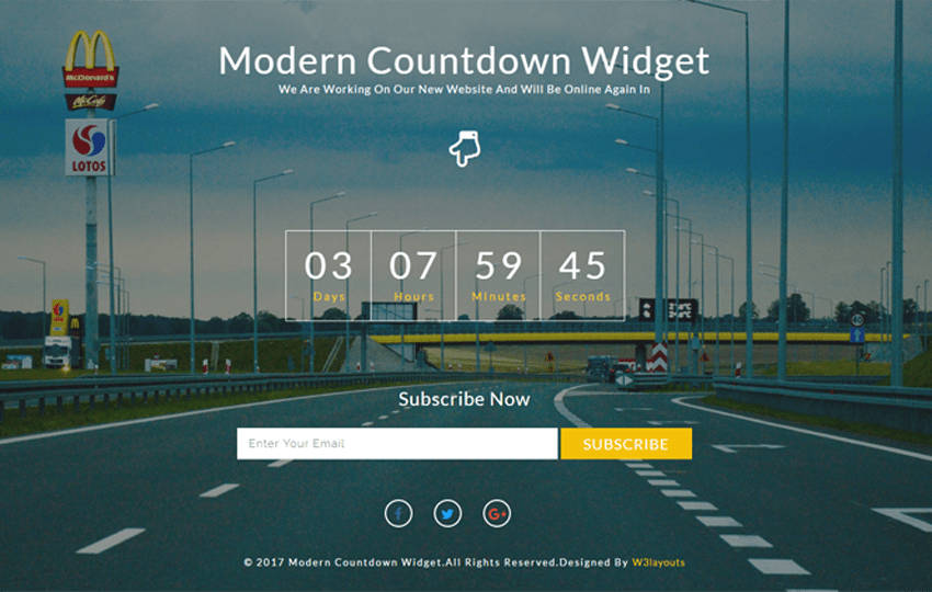 Modern Countdown Widget a Flat Responsive Widget Template Mobile website template Free