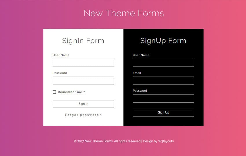New Theme Forms a Flat Responsive Widget Template