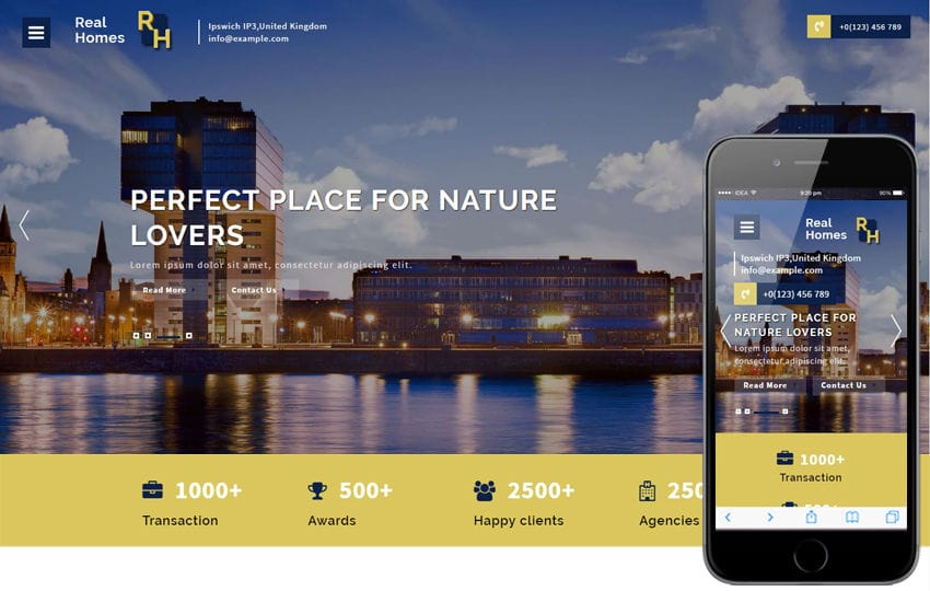 Real homes a Real Estates Category Bootstrap Responsive Web Template Mobile website template Free