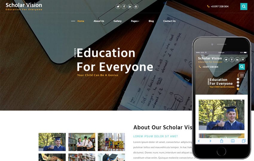 Scholar Vision an Education Category Bootstrap Responsive Web Template Mobile website template Free