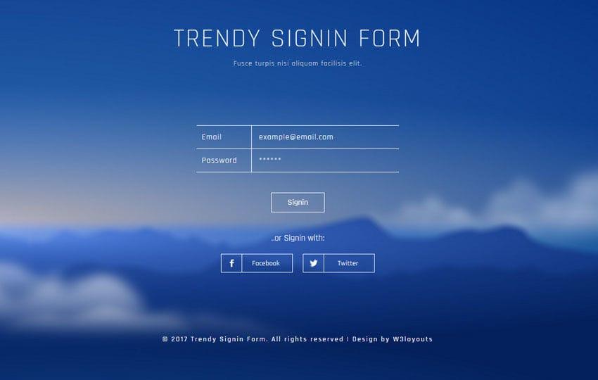Trendy Signin Form Flat Responsive Widget Template