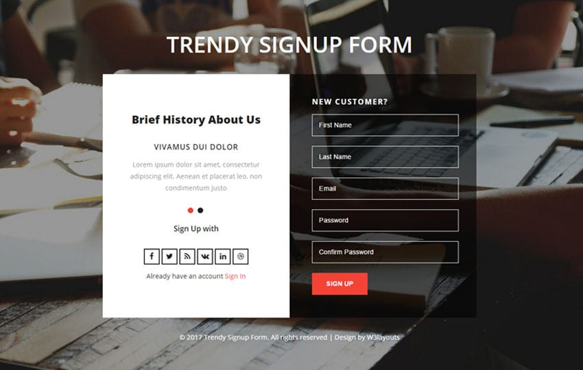 Trendy Signup Form Flat Responsive Widget Template