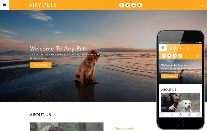 Airy Pets an animals Category Bootstrap Responsive Web Template Mobile website template Free