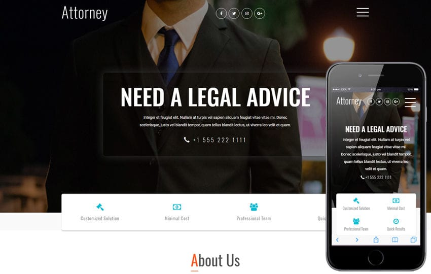 Attorney a Business Category Bootstrap Responsive Web Template
