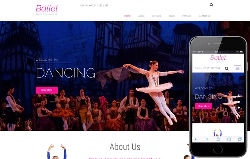 Ballet an Entertainment Category Bootstrap Responsive Web Template Mobile website template Free