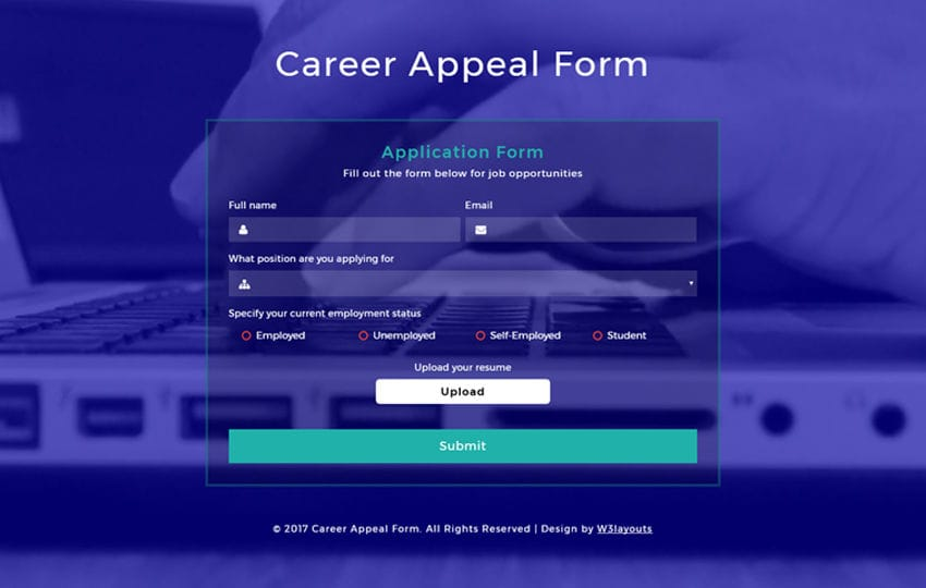 Career Appeal Form Responsive Widget Template