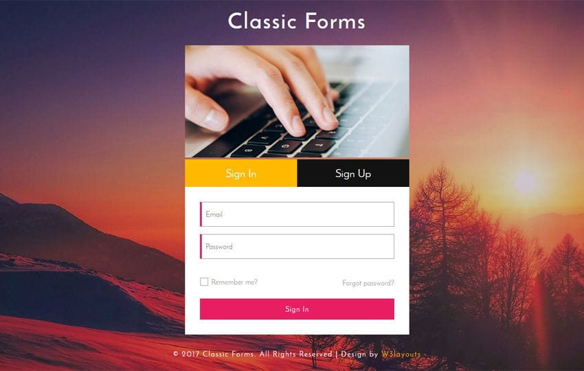 Classic Forms Responsive Widget Template