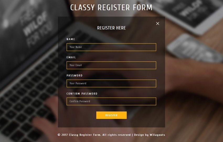 Classy Register Form Responsive Widget Template