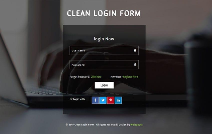 Clean Login Form a Flat Responsive Widget Template