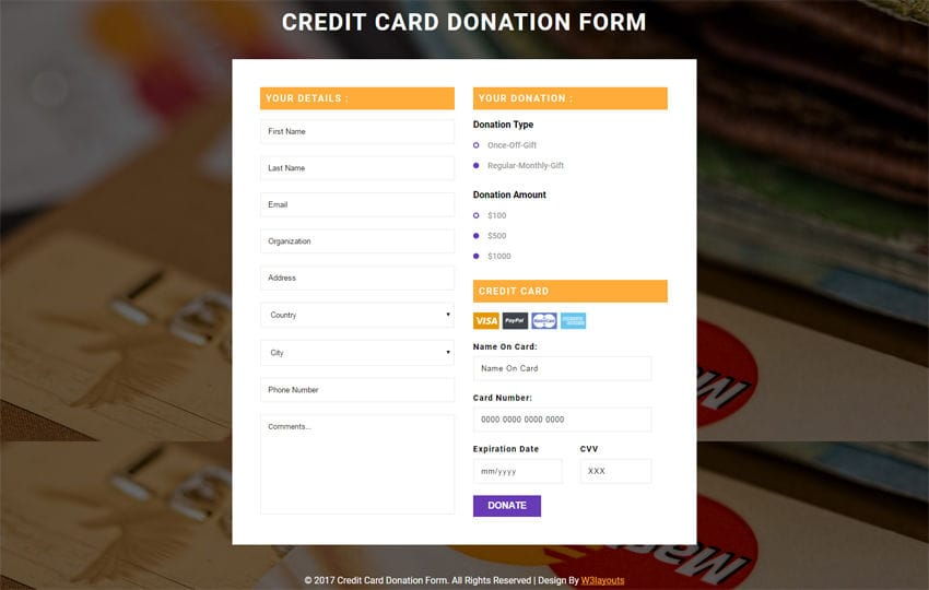 Credit Card Donation Form a Flat Responsive Widget Template