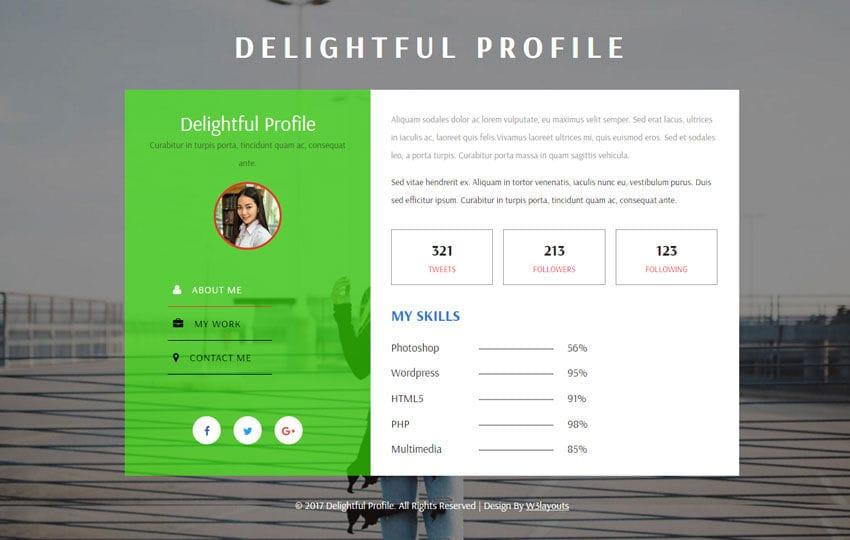 Delightful Profile Flat Responsive Widget Template