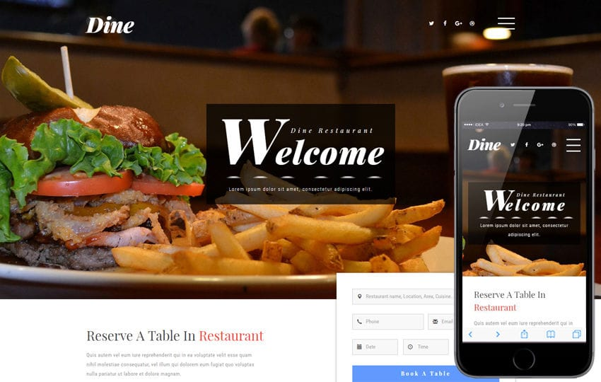 Dine a Restaurants Category Bootstrap Responsive Web Template