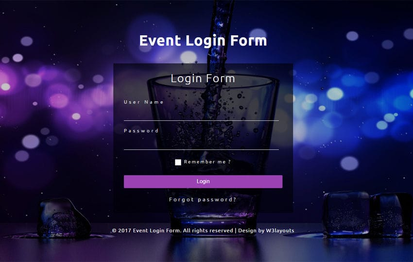 Event Login Form a Flat Responsive Widget Template