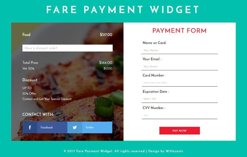 Fare Payment Widget a Responsive Widget Template