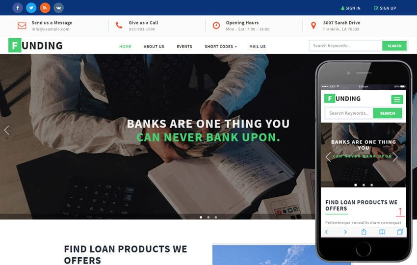 Funding a Banking Category Bootstrap Responsive Web Template Mobile website template Free