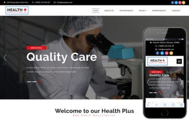 Health plus a Medical Category Bootstrap Responsive Web Template