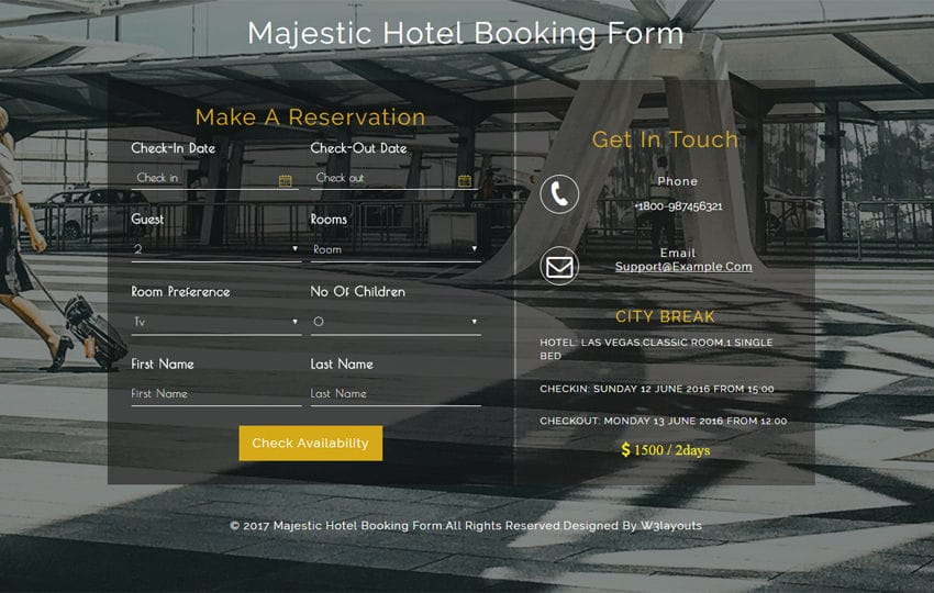Majestic Hotel Booking Form a Flat Responsive Widget Template