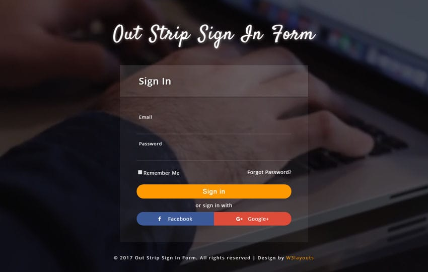 Out Strip Sign In Form a Responsive Widget Template