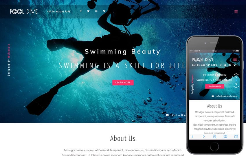 Pool Dive a Sports Category Flat Bootstrap Responsive Web Template
