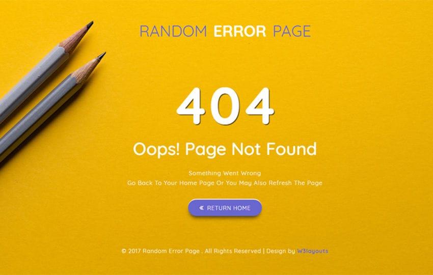 Random Error Page a Flat Responsive Widget Template