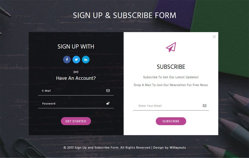 Signup and Subscribe Form a Flat Responsive Widget Template