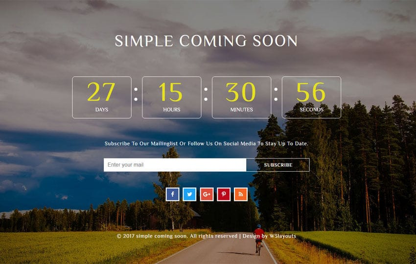 Simple Coming Soon a Flat Responsive Widget Template