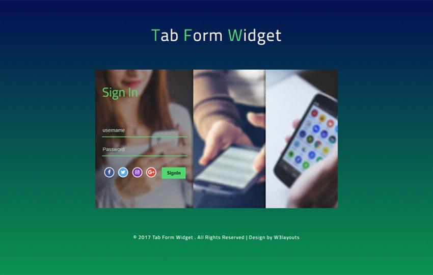 Tab Form Widget Flat Responsive Widget Template