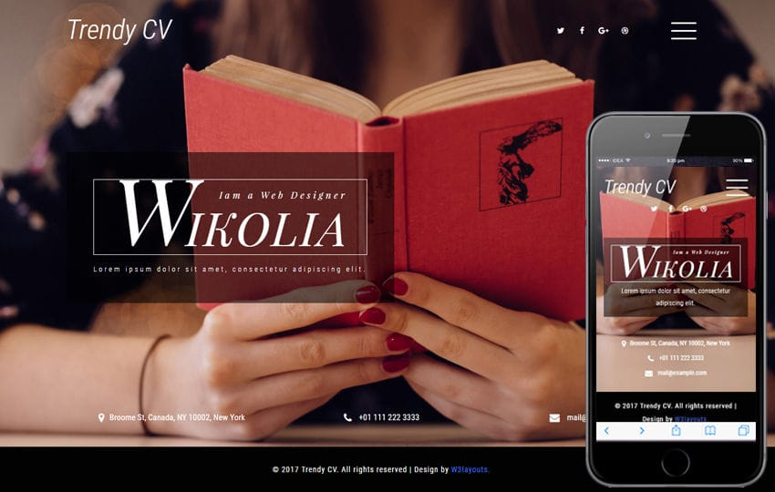 Trendy CV a Personal Category Bootstrap Responsive Web Template Mobile website template Free