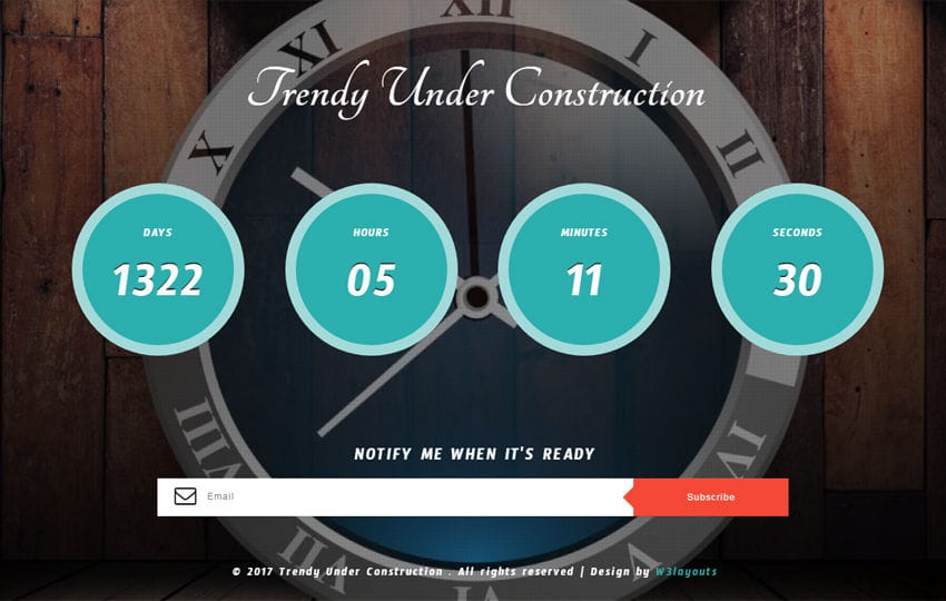Trendy Under Construction Responsive Widget Template