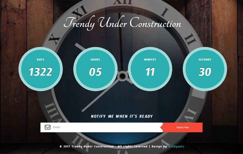 Trendy Under Construction Responsive Widget Template