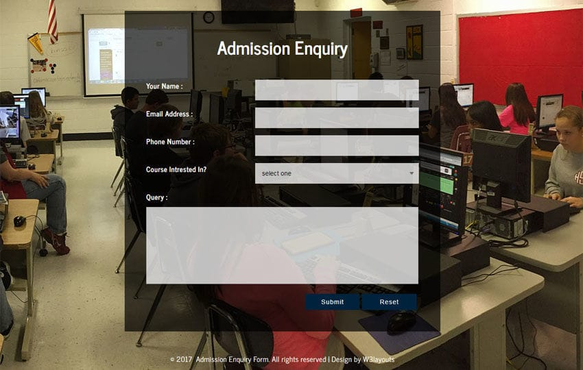 Admission Enquiry Form a Flat Responsive Widget Template
