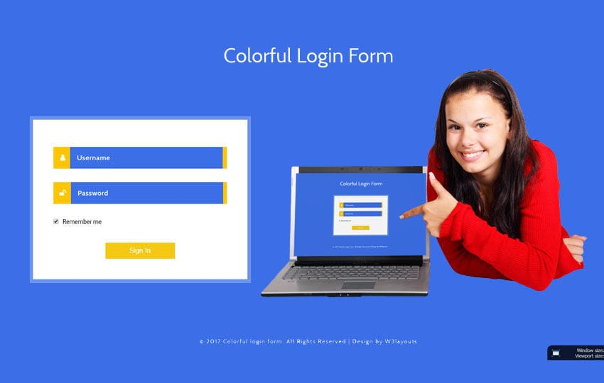 Colorful Login Form Flat Responsive Widget Template
