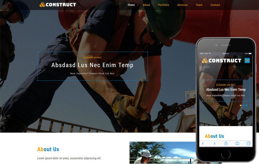 Construct an Industrial Category Bootstrap Responsive Web Template