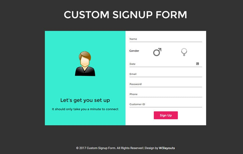 Custom Signup Form a Flat Responsive Widget Template